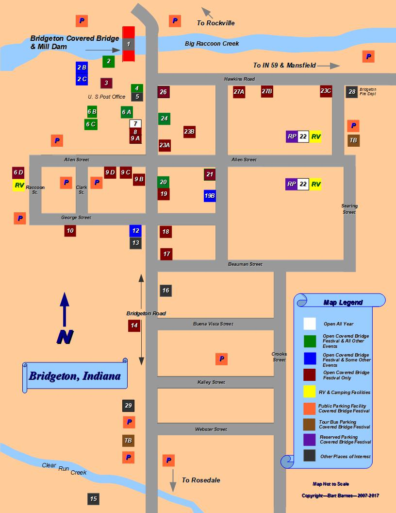 Bridgeton, Indiana   Town Map